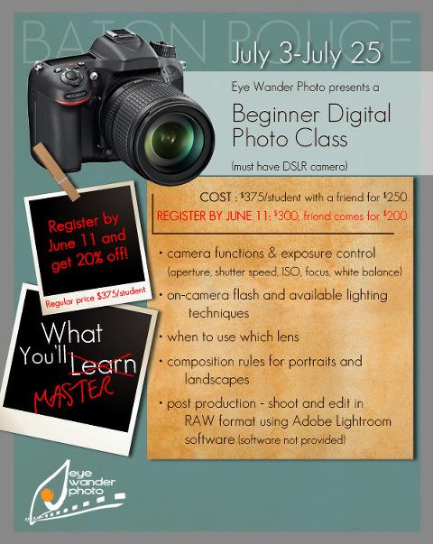beginner photo classes in baton rouge