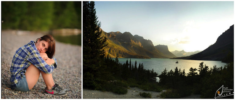 Glacier National Park Lake Girl Sits on Rock Shore