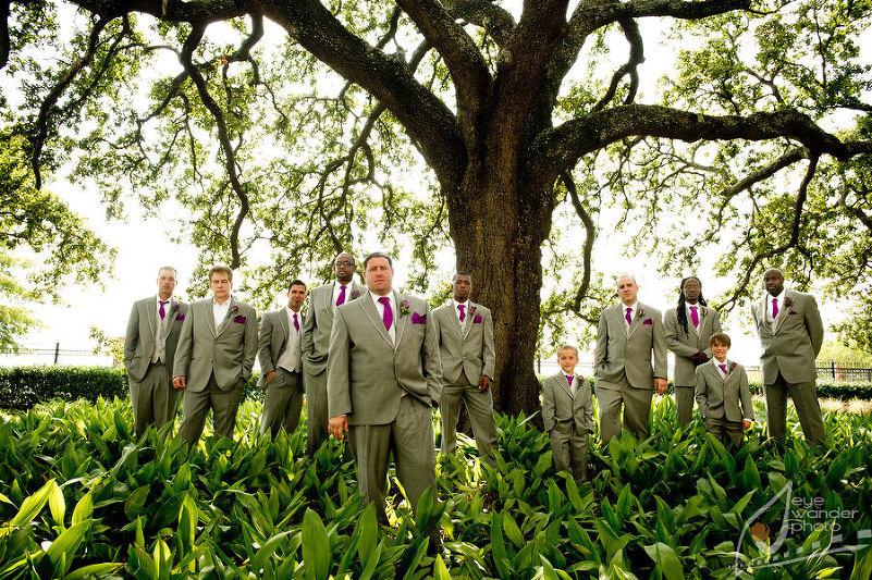 Baton Rouge Wedding Old State Capital Groom and Groomsmen Stand Under Large Oak Tree
