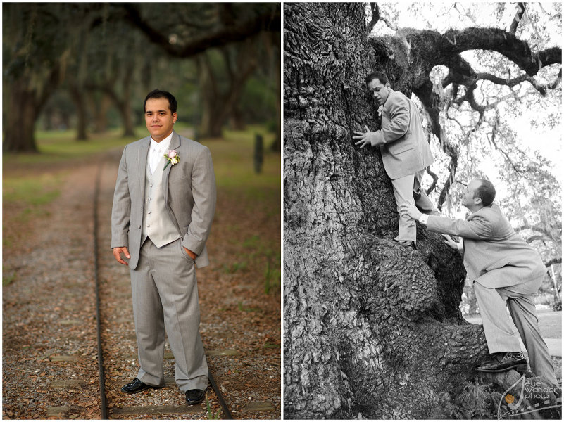 New Orleans Wedding Groom Climbs Oak Tree in Suit and Stands on Trolly Tracks