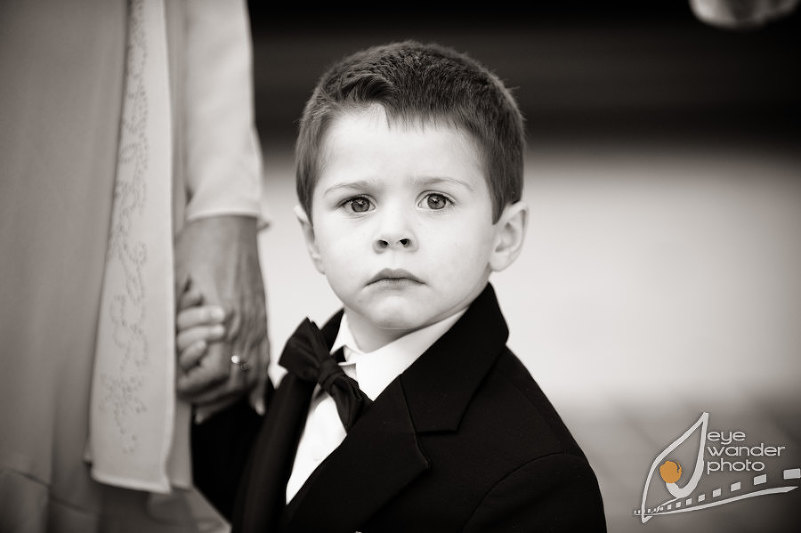 Children at Weddings Young Ring Bearer Portrait Black and White