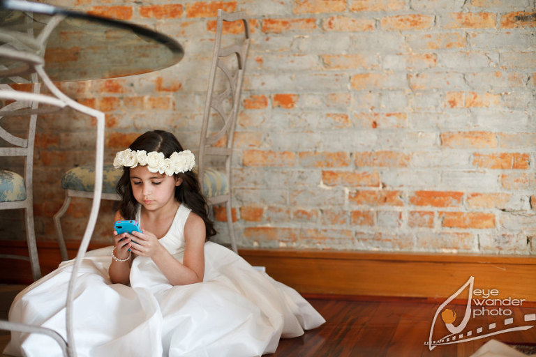 Kids At Weddings Flower Girl Under Table on Iphone