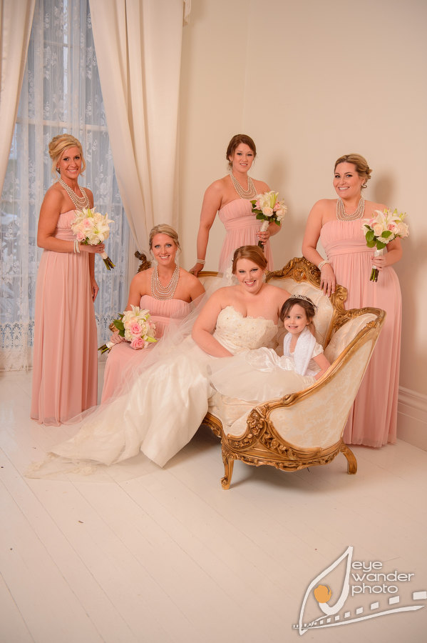 Louisiana Plantation Wedding Bridal Party Pink and White