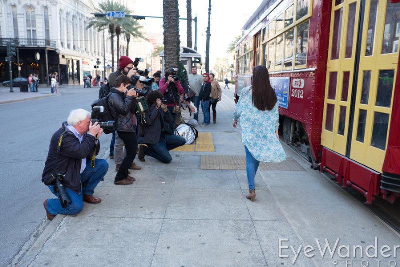 Lighting Workshop New Orleans, high school senior photography, street car, Juliana Arrington