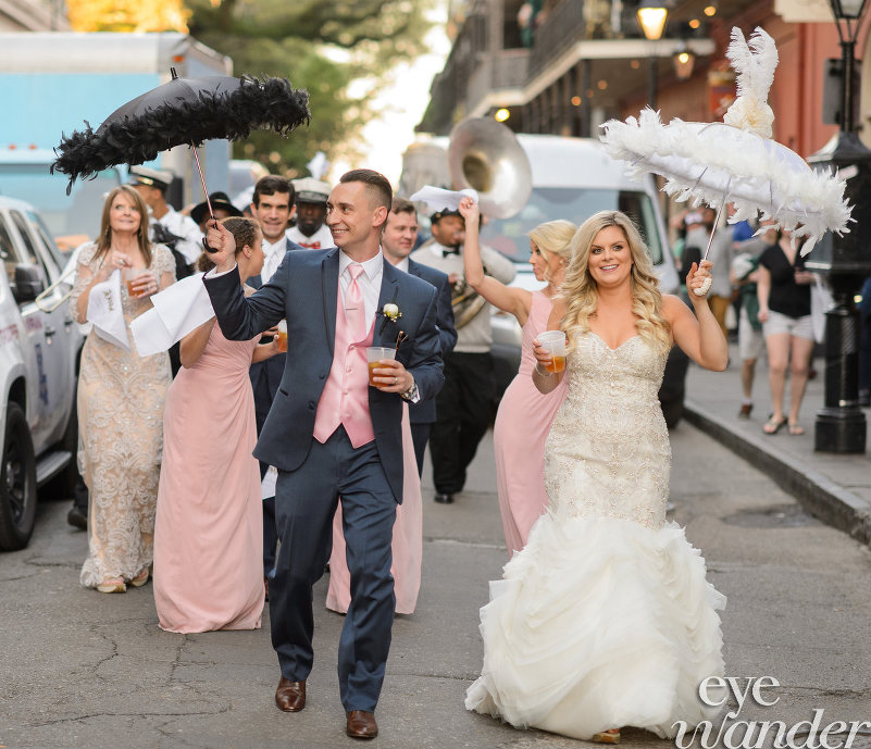 Royal Street Wedding Second line - Bride and Groom - Brass Band- New Orleans