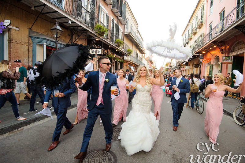 Royal Street Wedding Second line - Bride and Groom - Brass Band - New Orleans